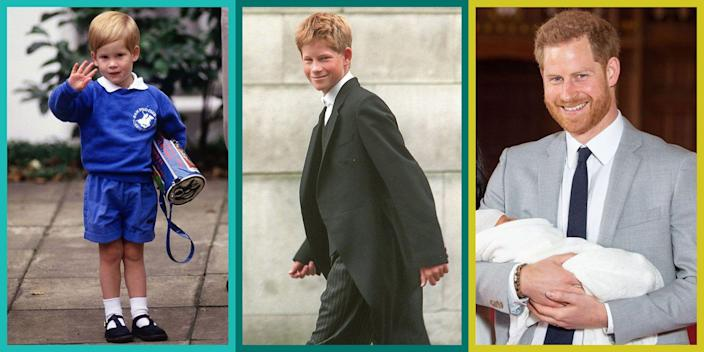 """<p>Prince Harry has done a lot of growing up in the public eye since his birth on September 15, 1984. From the royal palace to his extravagant engagements around the globe, Harry has had quite the transformation, and the world has watched as he made the step from child to adult to husband to father. But the Duke of Sussex shows no signs of slowing down anytime soon, and even though Harry and Meghan have left their royal status behind hardly means they'll be strapped for cash. The new Los Angelenos just made a deal with Netflix that's worth <a href=""""https://www.cosmopolitan.com/entertainment/celebs/a33924133/meghan-markle-prince-harry-netflix-deal-scrutinized-royals/"""" rel=""""nofollow noopener"""" target=""""_blank"""" data-ylk=""""slk:a reported $100 million"""" class=""""link rapid-noclick-resp"""">a reported $100 million</a>. So, yeah. It looks like the jump from <em>actual</em> royalty to Netflix royalty isn't so bad after all. And in all honesty, Harry may have <a href=""""https://www.cosmopolitan.com/entertainment/celebs/a32120019/prince-harry-drops-surname-mountbatten-windsor/"""" rel=""""nofollow noopener"""" target=""""_blank"""" data-ylk=""""slk:dropped his royal surname"""" class=""""link rapid-noclick-resp"""">dropped his royal surname</a>, but he'll always be Prince Harry to us.</p>"""