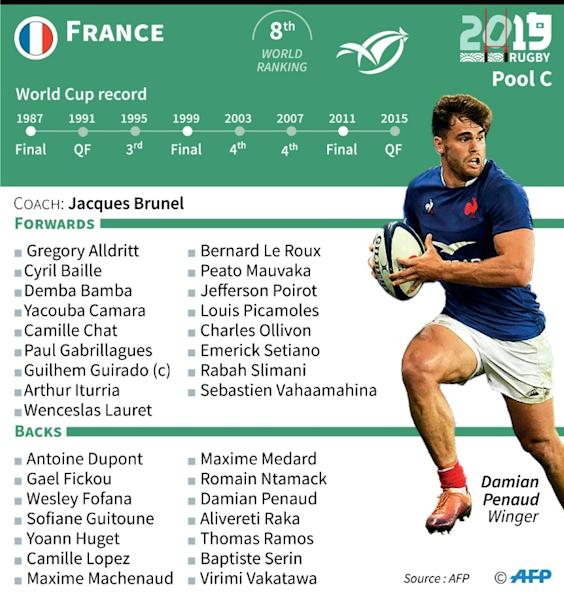 France's squad and previous performances in the Rugby World Cup