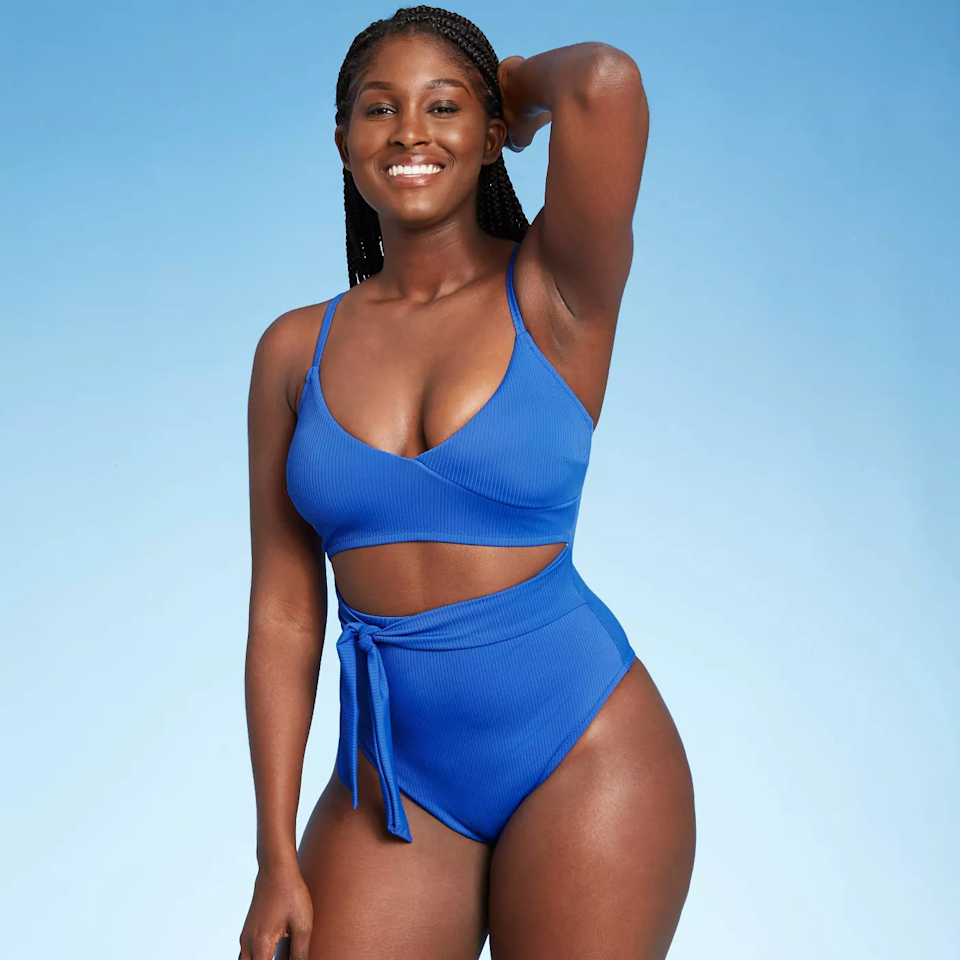 """<br><br><strong>Shade & Shore</strong> Front Cut Out Sash-Tie Ribbed One Piece Swimsuit, $, available at <a href=""""https://go.skimresources.com/?id=30283X879131&url=https%3A%2F%2Fgoto.target.com%2Fx9kYKy"""" rel=""""nofollow noopener"""" target=""""_blank"""" data-ylk=""""slk:Target"""" class=""""link rapid-noclick-resp"""">Target</a>"""