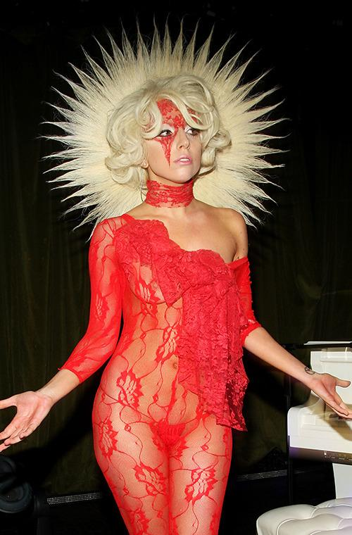 Gaga has worn lace-based ensembles on the red carpet several times. She didn't just stop at the clothes, though - she oftentimes crafted masks made of lace. The beaming halo headpiece makes it clear: Gaga was to be worshipped.