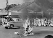 <p>1963. AP Caption: Thich Quang Duc, a Buddhist monk, burns himself to death on a Saigon street June 11, 1963 to protest alleged persecution of Buddhists by the South Vietnamese government.</p>