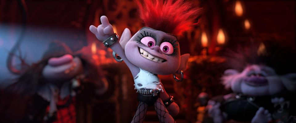 """Barb (Rachel Bloom) is a metal maniac with aspirations of rock supremacy in """"Trolls World Tour."""""""