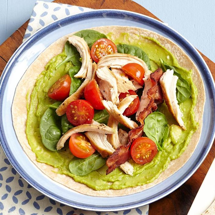 """<p>Who doesn't love a BLT? In this Mexican-inspired version, we've added chicken and avocado and wrapped it in a tortilla, making it easy to eat. <a href=""""https://www.eatingwell.com/recipe/265119/chicken-avocado-blt-wrap/"""" rel=""""nofollow noopener"""" target=""""_blank"""" data-ylk=""""slk:View Recipe"""" class=""""link rapid-noclick-resp"""">View Recipe</a></p>"""
