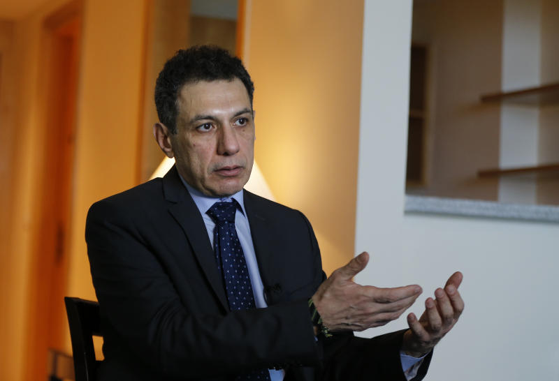 "Nizar Zakka a Lebanese citizen and permanent U.S. resident who was released in Tehran after nearly four years in jail on charges of spying, speaks during an interview with The Associated Press at a hotel in Dbayeh, north of Beirut, Lebanon, Wednesday, June 12, 2019. Zakka, an information technology expert, who was detained in Iran in September 2015 while trying to fly out of Tehran called on President Donald Trump to ""get back your hostages"" from Iran. He was sentenced to 10 years in prison after authorities accused him of being an American spy - allegations vigorously rejected by Zakka, his family and associates. (AP Photo/Bilal Hussein)"