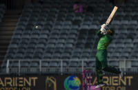 Pakistan's batsman Asif Ali plays a high ball from South Africa's bowler Kagiso Rabada delivery during the second One Day International cricket match between South Africa and Pakistan at the Wanderers stadium in Johannesburg, South Africa, Sunday, April 4, 2021. (AP Photo/Themba Hadebe)