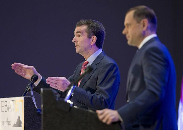 Democratic gubernatorial candidates Lt. Gov. Ralph Northam, left, and former congressman Tom Perriello, right, at a debate in Richmond, Va., May 9, 2017. (Photo: Steve Helber/AP)