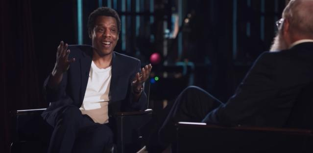 Jay-Z explains rap to David Letterman. (Photo courtesy of Netflix)
