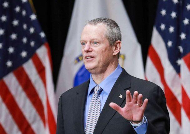 PHOTO: Mass. Gov. Charlie Baker updates the media on coronavirus cases in the state during a press conference at the Massachusetts State House in Boston, April 3, 2020. (Medianews Group/boston Herald Vi/MediaNews Group via Getty Images)