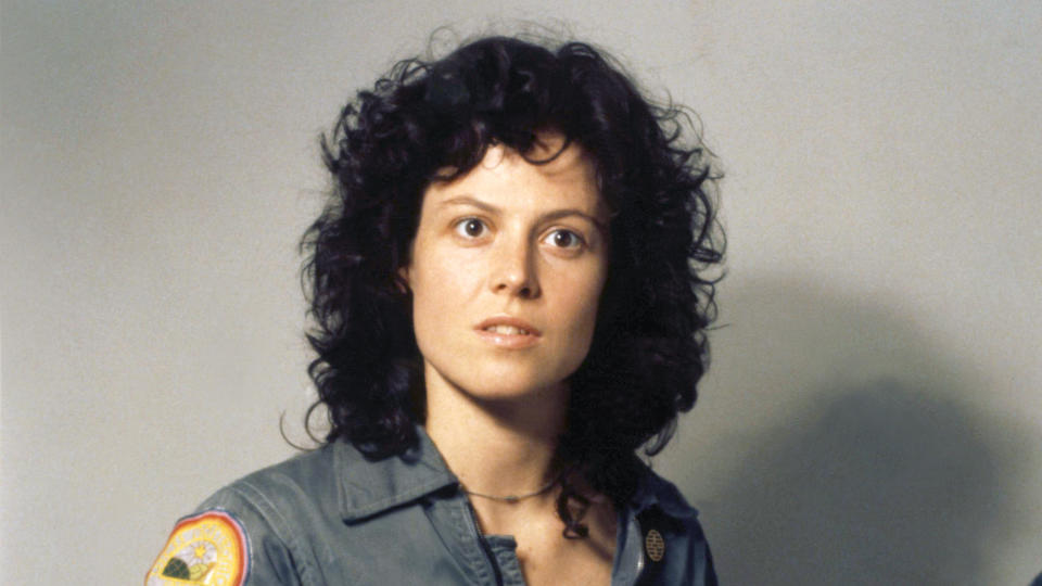 Sigourney Weaver on the set of 'Alien', directed by Ridley Scott. (Photo by Sunset Boulevard/Corbis via Getty Images)