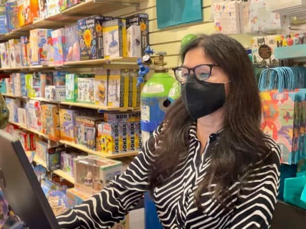 Sam Care runs Playful Minds toy store in Toronto. She's having trouble getting inventory due to the pandemic. (Nisha Patel/CBC - image credit)