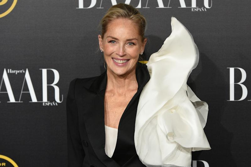 MADRID, SPAIN - 2019/11/05: Sharon Stone attends the Harper's Bazaar Awards 2019 at Santoña palace in Madrid. The American actress, producer, and former fashion model Sharon Vonne Stone received the International Icon Harper's Bazaar Award 2019. (Photo by John Milner/SOPA Images/LightRocket via Getty Images)