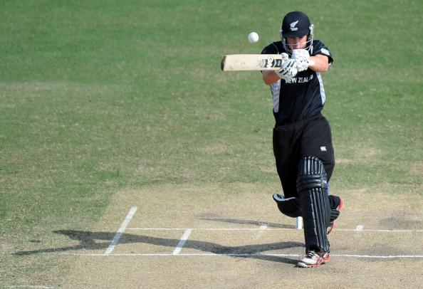 TOWNSVILLE, AUSTRALIA - AUGUST 23:  Will Young of New Zealand pulling the ball for 4 runs during the ICC U19 Cricket World Cup 2012 Semi Final match between India and New Zealand at Tony Ireland Stadium on August 23, 2012 in Townsville, Australia.  (Photo by Malcolm Fairclough-ICC/Getty Images)