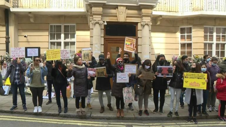 UK: Protest outside Myanmar embassy following ambassador's removal