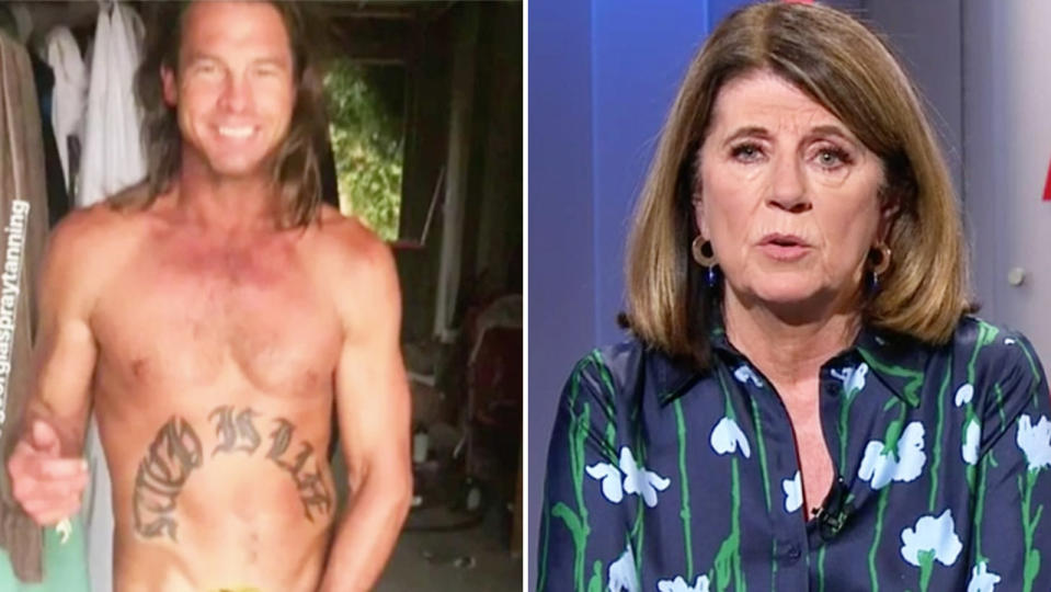 Veteran AFL reporter Caroline Wilson (pictured right) not impressed and Ben Cousins (pictured left) shirtless at a tanning salon.