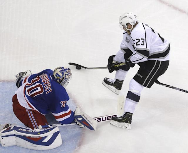 Los Angeles Kings right wing Dustin Brown (23), right, scores past New York Rangers goalie Henrik Lundqvist (30) in the second period during Game 4 of the NHL hockey Stanley Cup Final, Wednesday, June 11, 2014, in New York. (AP Photo/Seth Wenig)