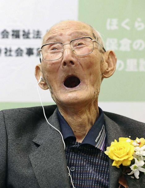 PHOTO: 112-year-old Chitetsu Watanabe celebrates after being awarded as the world's oldest living male by Guinness World Records, in Joetsu, Niigata prefecture, Japan, Feb. 12, 2020. (Kyodo via Reuters)