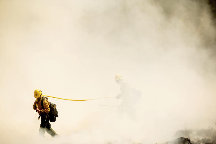 Firefighters battling the Windy Fire extinguish a spot fire near the Trail of 100 Giants grove of Sequoia National Forest, Calif., on Sunday, Sept. 19, 2021. (AP Photo/Noah Berger)