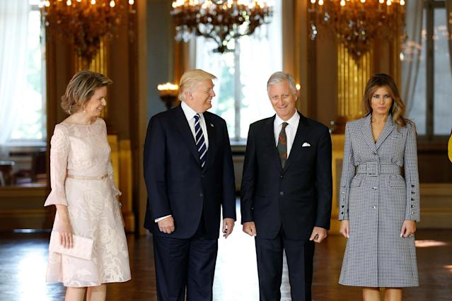 <p>President Donald Trump (2ndL) and first lady Melania Trump (R) pose with King Philippe and Queen Mathilde of Belgium at the Palace in Brussels, Belgium, May 24, 2017. (Photo: Francois Lenoir/Reuters) </p>