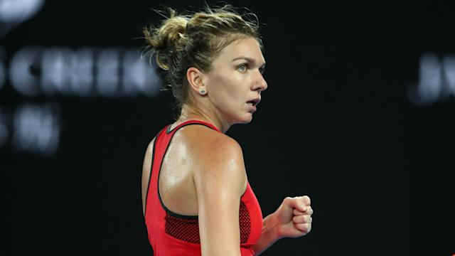 In her first match since losing the Australian Open final, Simona Halep looked at her best in an easy win over Ekaterina Makarova.