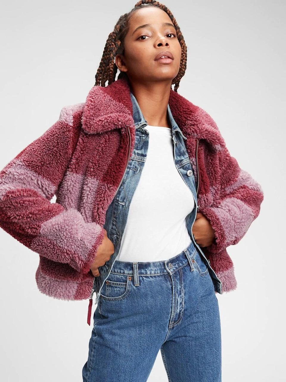 <p>Stand out with the unique pattern on this <span>Gap Plaid Sherpa Jacket</span> ($49, originally $98).</p>