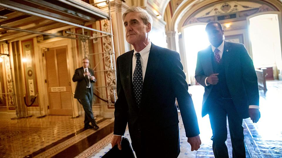 Mandatory Credit: Photo by AP/REX/Shutterstock (8874976b)Special Counsel Robert Mueller departs after a closed-door meeting with members of the Senate Judiciary Committee about Russian meddling in the election and possible connection to the Trump campaign, at the Capitol in WashingtonCongress Russia Probe, Washington, USA - 21 Jun 2017.