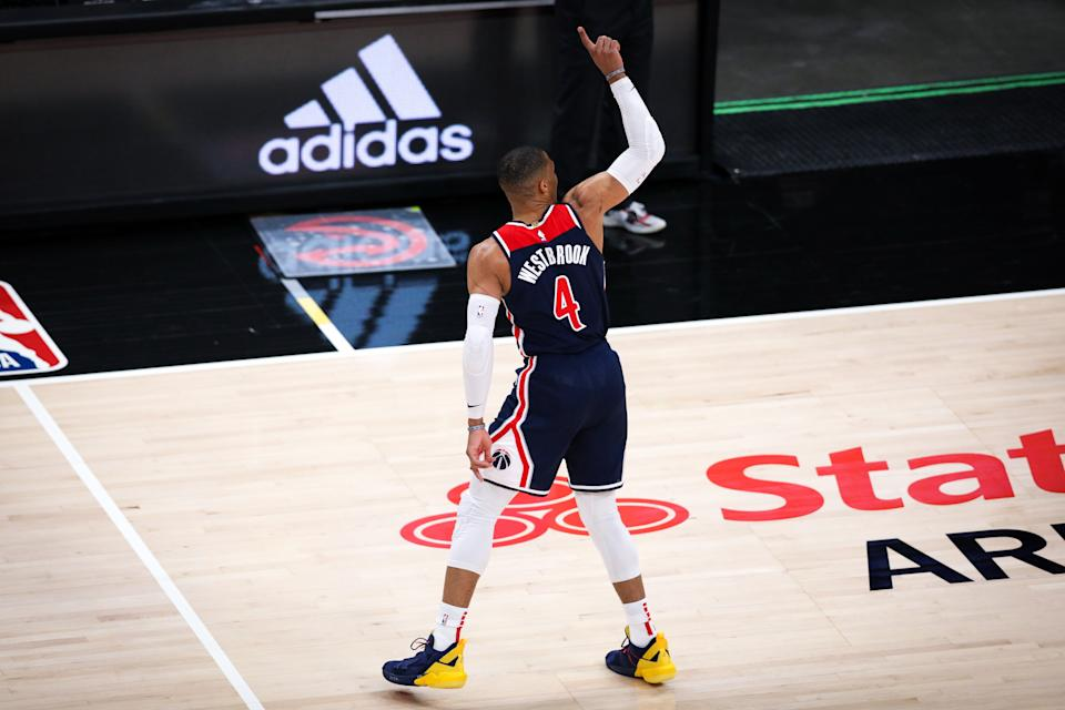 ATLANTA, GA - MAY 10: Russell Westbrook #4 of the Washington Wizards reacts during a game between the Washington Wizards and the Atlanta Hawks at State Farm Arena on May 10, 2021 in Atlanta, Georgia. NOTE TO USER: User expressly acknowledges and agrees that, by downloading and or using this photograph, User is consenting to the terms and conditions of the Getty Images License Agreement. (Photo by Casey Sykes/Getty Images)