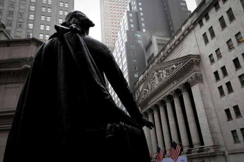 FILE PHOTO: Statue of George Washington at Federal Hall across Wall Street from New York Stock Exchange in New York