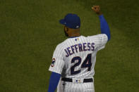 Chicago Cubs relief pitcher Jeremy Jeffress (24) pumps his fist at the end of Game 2 of a baseball doubleheader against the St. Louis Cardinals, Monday, Aug. 17, 2020, in Chicago. (AP Photo/Matt Marton)