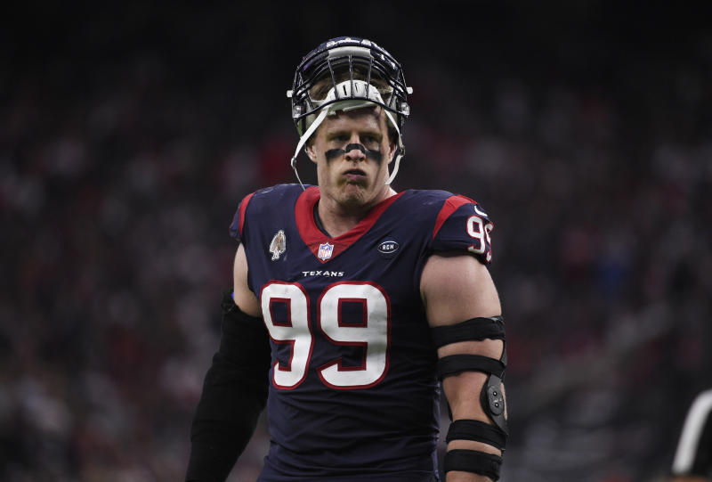Houston Texans defensive end J.J. Watt (99) during the first half of an NFL wild card playoff football game against the Indianapolis Colts, Saturday, Jan. 5, 2019, in Houston. (AP Photo/Eric Christian Smith)