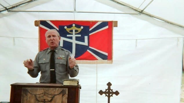 A photo from Arthur Jones' campaign website shows him speaking at the Aryan Nations 2014 World Congress in Converse, Louisiana.  (Arthur Jones)