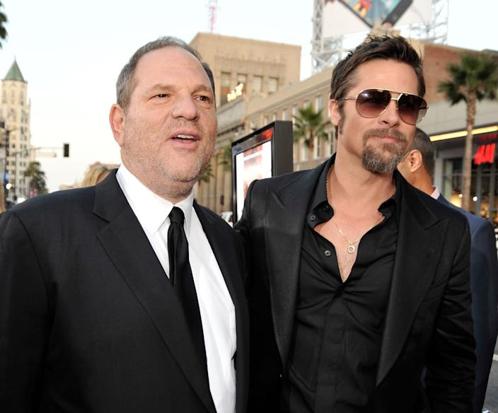 "<div class=""inline-image__caption""><p>Harvey Weinstein and Brad Pitt arrive at the premiere of Weinstein Co.'s <em>Inglourious Basterds</em> on August 10, 2009, in Hollywood, California.</p></div> <div class=""inline-image__credit"">Kevin Winter/Getty</div>"