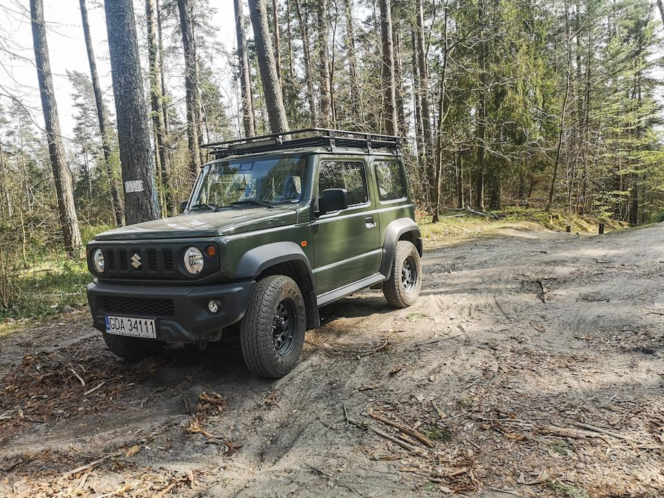 Nato green colored New Suzuki Jimny 4x4 is seen in Otomin, Poland on 28 April 2020  Jimny is one of the most popular model in the Suzuki gamma. The waiting time for a car after purchase reaches two years. (Photo by Michal Fludra/NurPhoto via Getty Images)