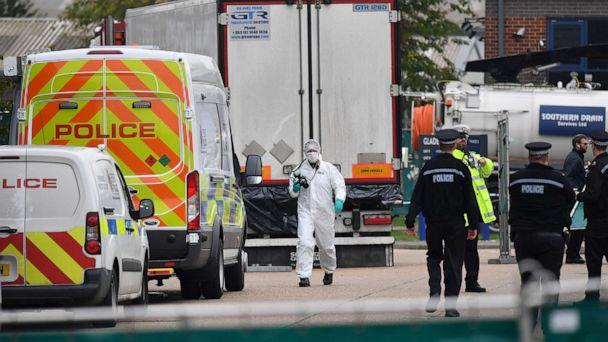 PHOTO: British Police officers in forsensic suits work near a lorry, found to be containing 39 dead bodies, inside a police cordon at Waterglade Industrial Park in Grays, east of London, on Oct. 23, 2019. (Ben Stansall/AFP via Getty Images, FILE)