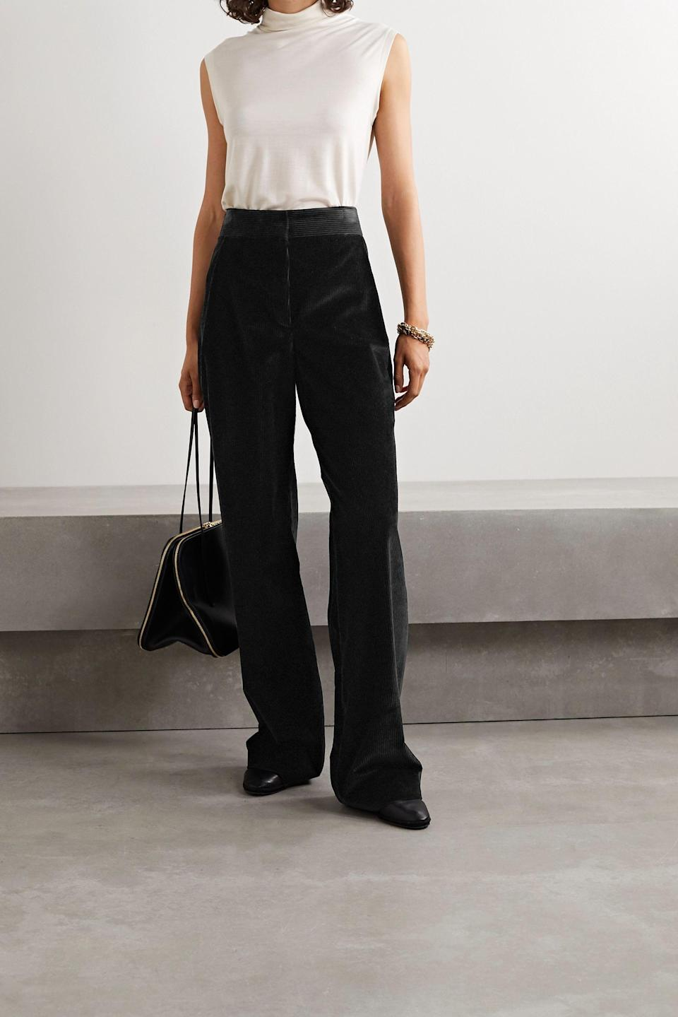 """<br><br><strong>The Row</strong> Caylan Cotton Corduroy Wide Leg Pants, $, available at <a href=""""https://www.net-a-porter.com/en-gb/shop/product/the-row/caylan-cotton-corduroy-wide-leg-pants/1265689"""" rel=""""nofollow noopener"""" target=""""_blank"""" data-ylk=""""slk:Net-A-Porter"""" class=""""link rapid-noclick-resp"""">Net-A-Porter</a>"""
