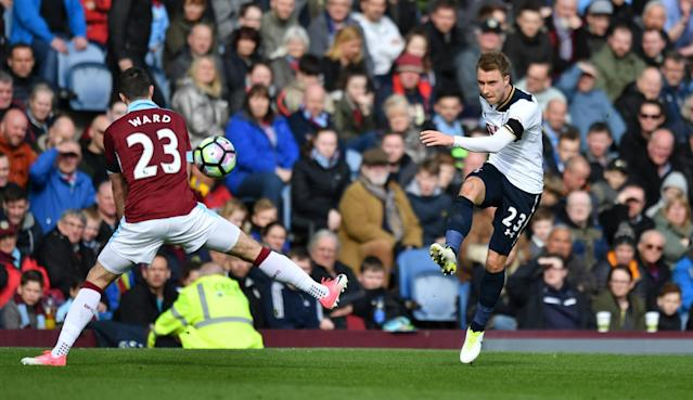 Tottenham's Christian Eriksen in action with Burnley's Stephen Ward