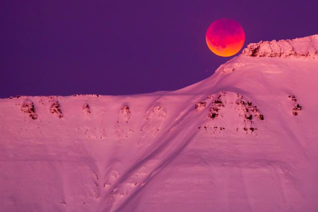 <p>A super blue blood moon is seen from Longyearbyen, Svalbard, Norway, Jan. 31, 2018. (Photo: NTB Scanpix/Heiko Junge/via Reuters) </p>