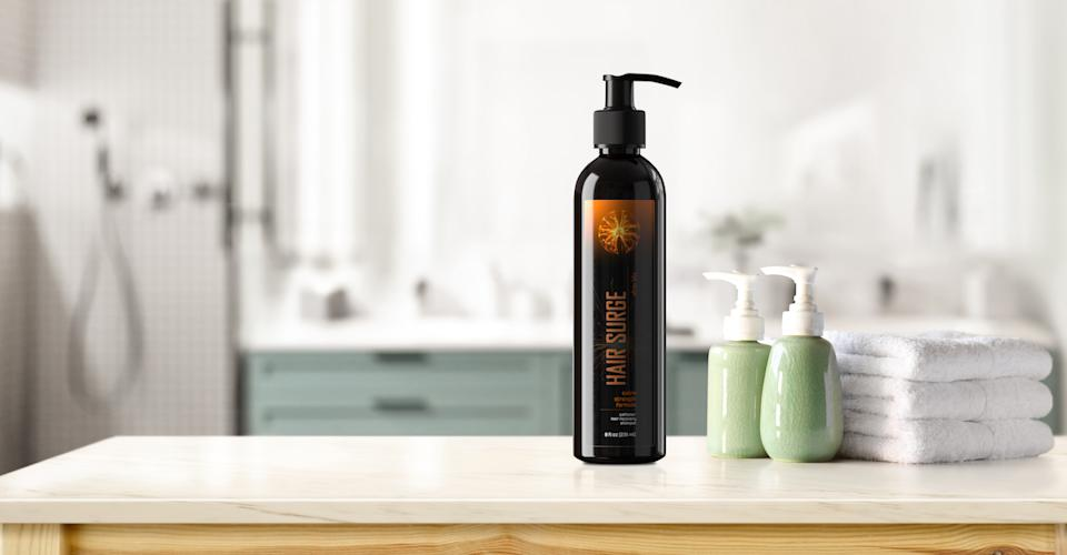 UltraX Labs Hair Surge Shampoo uses caffeine as well as other natural ingredients such as palmetto and ketoconazole to work wonders on your hair.  (Photo: UltraX)