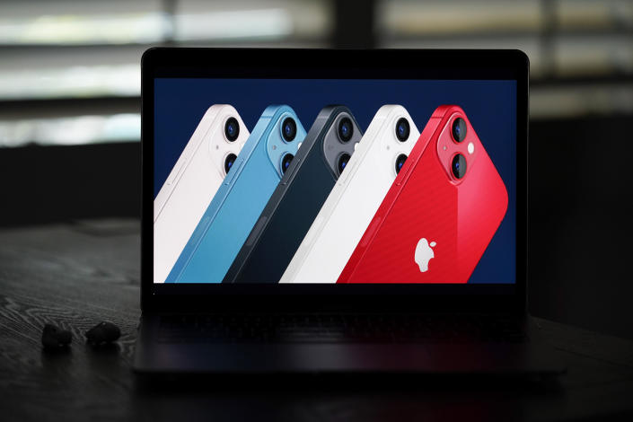 Seen on the screen of a device in La Habra, Calif., new iPhone 13 smartphones are introduced during a virtual event held to announce new Apple products Tuesday, Sept. 14, 2021. (AP Photo/Jae C. Hong)