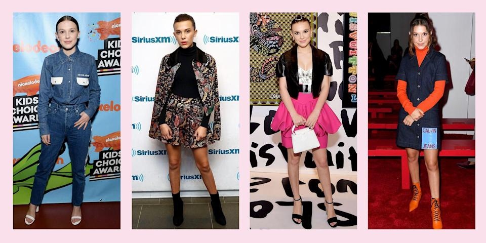 """<p>Now that she has ditched Hopper's flannel shirts and Mike's hand-me-down jeans, <a href=""""https://www.seventeen.com/fashion/celeb-fashion/a28423462/eleven-outfits-stranger-things/"""" rel=""""nofollow noopener"""" target=""""_blank"""" data-ylk=""""slk:Eleven is easily the best-dressed girl"""" class=""""link rapid-noclick-resp"""">Eleven is easily the best-dressed girl</a> in Hawkins, Indiana. And when she's not playing Eleven on <em><a href=""""https://www.seventeen.com/celebrity/movies-tv/a28278021/stranger-things-season-4-netflix/"""" rel=""""nofollow noopener"""" target=""""_blank"""" data-ylk=""""slk:Stranger Things"""" class=""""link rapid-noclick-resp"""">Stranger Things</a>, </em>Millie Bobby Brown is also one of the most stylish people in Hollywood. </p><p>Her personal vibe is edgy-meets-girly-meets-retro and every time she steps out of the house, you best believe it's a <em>look. </em>Ahead, I've pulled together all the best outfits she's ever worn that deserve to be appreciated – and then copied at your earliest convenience. Here are all the chicest Millie Bobby Brown outfits to reference the next time you get dressed.</p>"""