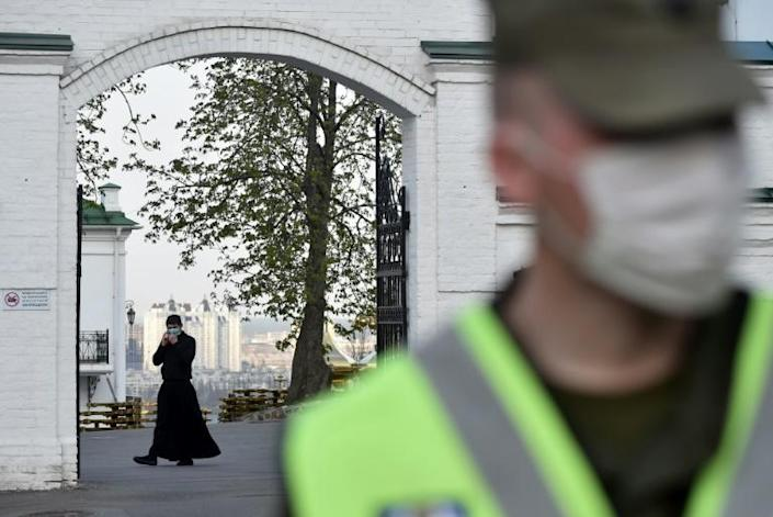 The monastery is under quarantine and all services are held behind closed doors and streamed online (AFP Photo/Sergei SUPINSKY)