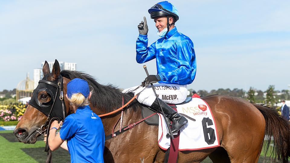 Kerrin McEvoy, pictured here after winning the MSS Security Sprint on Melbourne Cup day.