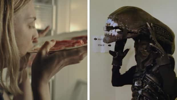 A still from the horror film Bloodthirsty, left, and a backstage photo from the documentary Alien on Stage. (Photos submitted by CUFF - image credit)