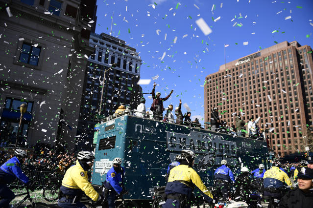 The Super Bowl dream included a ticker tape parade for the Philadelphia Eagles. (Getty Images)