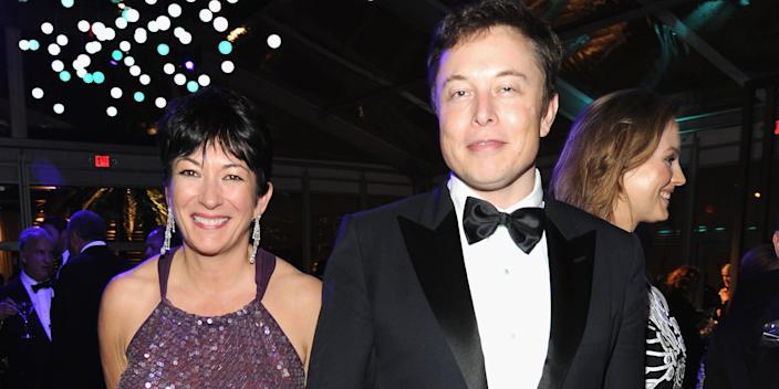Ghislaine Maxwell and Elon Musk pictured at an Oscars afterparty in Los Angeles in 2014.