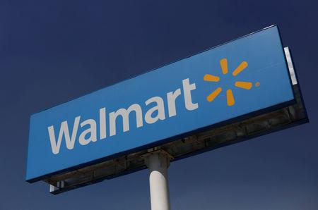 A Walmart sign is pictured at one of their stores in Mexico City