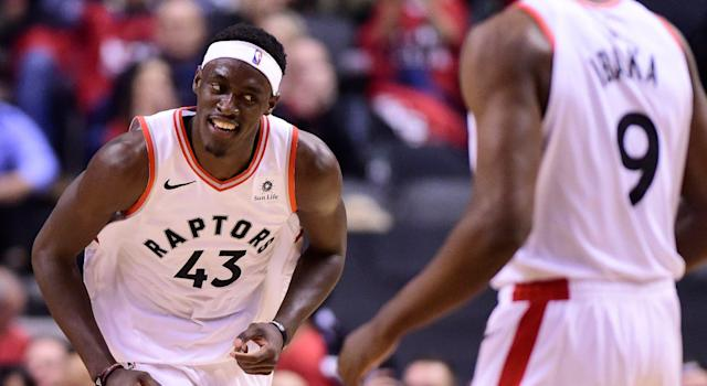 Toronto Raptors forward Pascal Siakam (43) smiles as he celebrates a dunk. (THE CANADIAN PRESS/Frank Gunn)