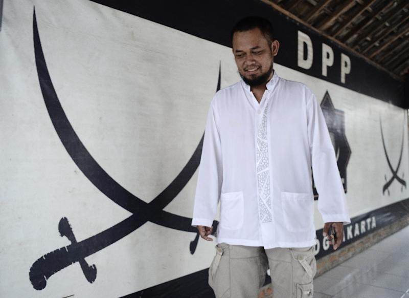 Abdurrahman, from local hardline group Islamic Jihad Front, which is leading the crackdown on Indonesia's only Islamic transgender boarding school (AFP Photo/Goh Chai Hin)