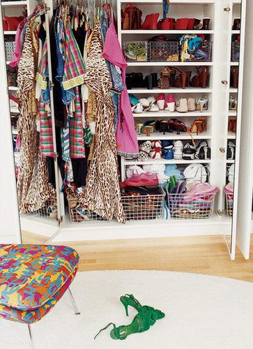You already know mirrors work wonders when it comes to making a room feel bigger, so why should your closet be any different? Prop one up against an inside wall, or consider installing mirrored doors. Plus you won't have to walk far to see how all those great outfits look.  Source: Domino Magazine