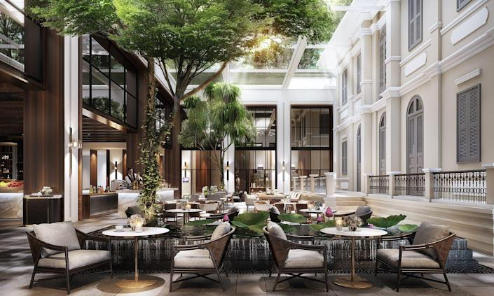 """<p>This sleek new hotel is sure to become an architectural landmark in Phnom Penh, with plenty of details that nod to traditional Cambodian design. <a href=""""https://www.hyatt.com/en-US/hotel/cambodia/hyatt-regency-phnom-penh/pnhrp"""" rel=""""nofollow noopener"""" target=""""_blank"""" data-ylk=""""slk:Hyatt Regency Phnom Penh"""" class=""""link rapid-noclick-resp"""">Hyatt Regency Phnom Penh</a> will be home to 247 rooms and suites, which offer sustainable amenities and innovative touches that will define this new age of travel. Guests will be able to dine with spectacular views of the Royal Palace and Mekong River and are within walking distance to some of the city's biggest attractions.</p><p><em>Hyatt Regency Phnom Penh opened in January 2021. Nightly rates start at $180 per night. </em></p>"""