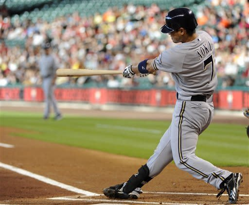 Milwaukee Brewers' Norichika Aoki hits a solo home run against the Houston Astros in the first inning of a baseball game Friday, July 6, 2012, in Houston. (AP Photo/Pat Sullivan)